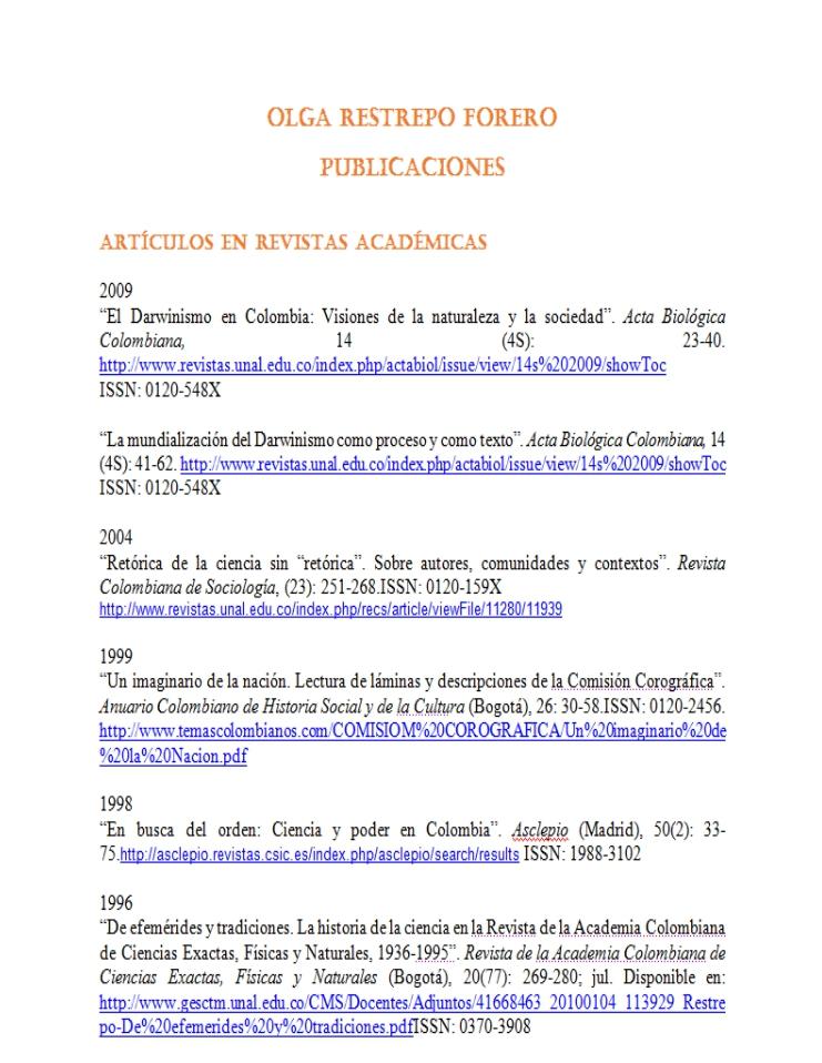 Lista de publicaciones