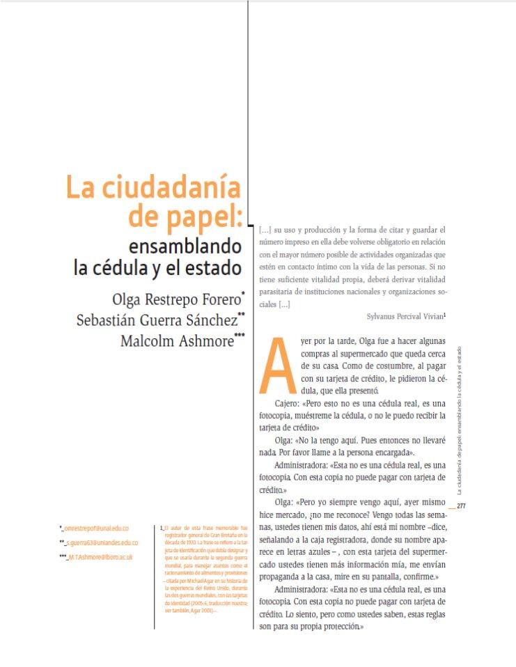 Restrepo, O., Guerra, S., Ashmore, M. (2013)
